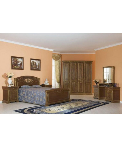 Спальня Лаура, орех с золотой патиной