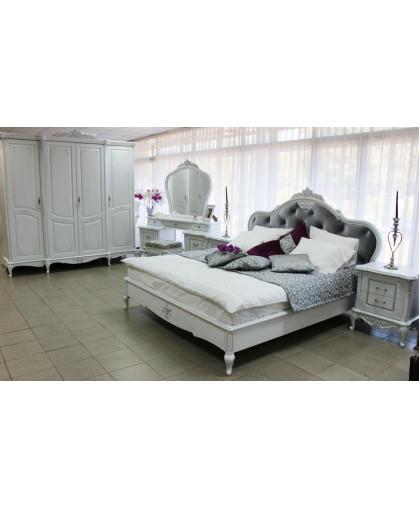 Спальня Барокко, белый с перламутровой патиной