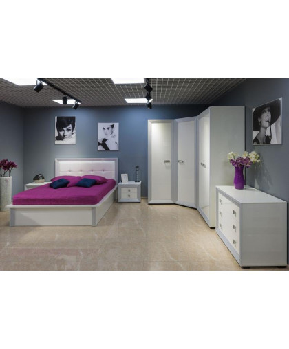 Спальня Даймонд Наоми, белый/белый/глянец
