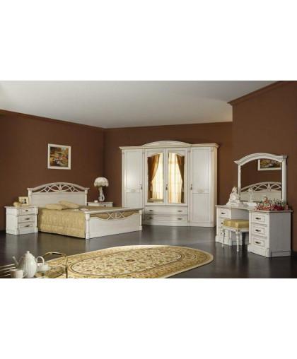 Спальня Элеганца, белый с золотой патиной