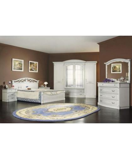 Спальня Элеганца, белый с перламутровой патиной